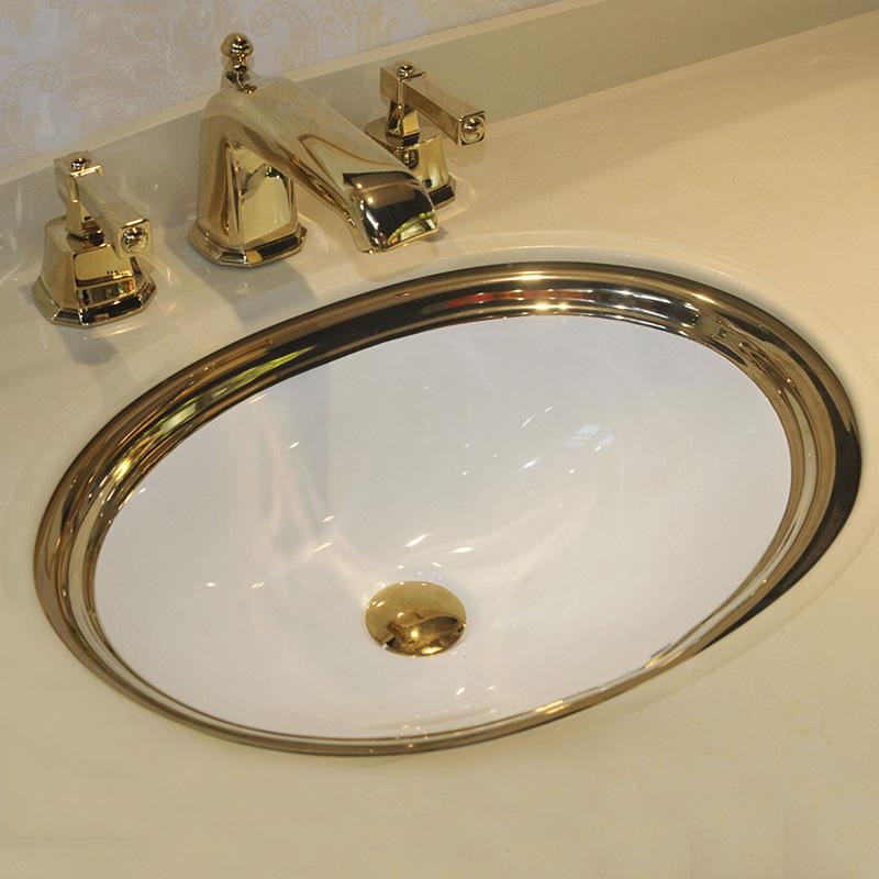 欧式镀金色半嵌入式台下盆 洗手盆 洗脸盆 面盆 景德镇陶瓷图片