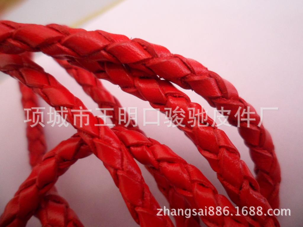 批发牛皮编织绳 4股红色光滑面手感好来样定做牛皮编织绳1米起卖