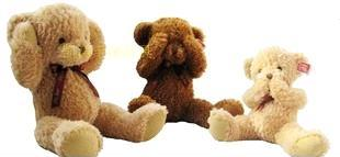 正版不听不看不说泰迪害羞熊磁铁熊60厘米1米毛绒玩具情人节礼物0