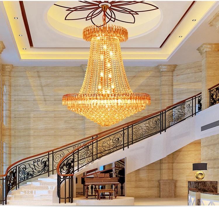 金色led现代奢华餐厅吊灯复式楼水晶灯楼梯长吊灯别墅客厅大吊灯图片