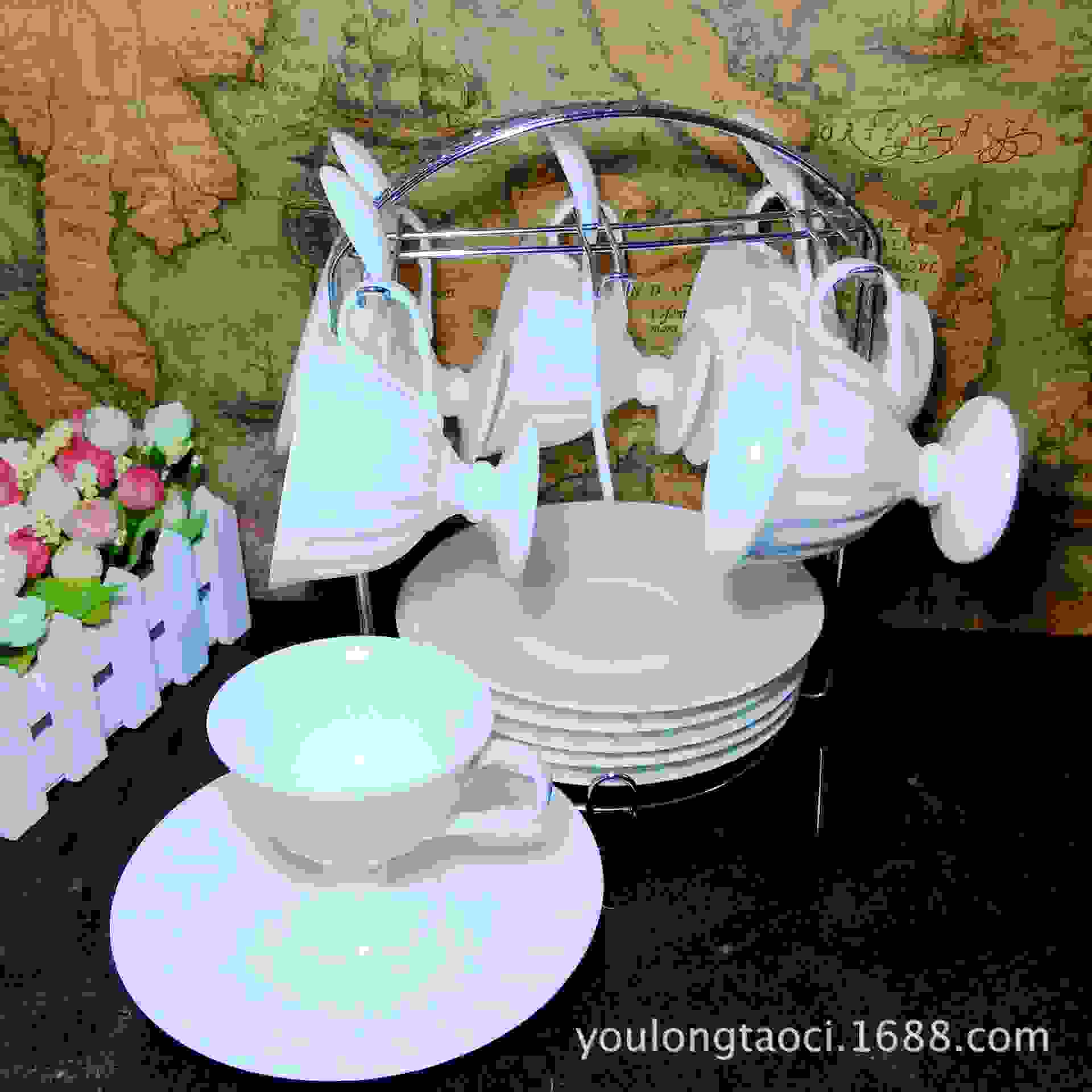 欧式陶瓷咖啡杯架子厂家批发六杯碟杯具不锈钢架创意雕花边收纳架