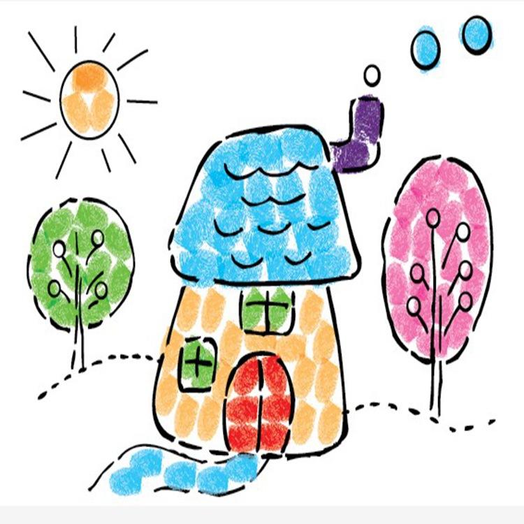 儿童diy手指画 彩色颜料手指画 宝宝涂鸦画 绘画套装益智玩具图片