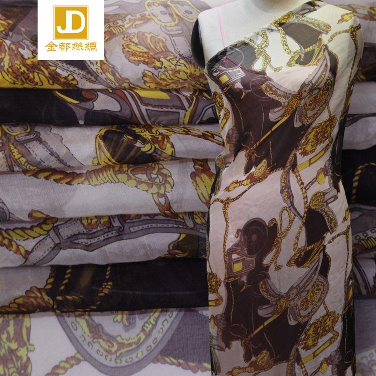 厂家直销140门幅6姆米雪纺印花桑蚕丝连衣裙丝巾面料现货