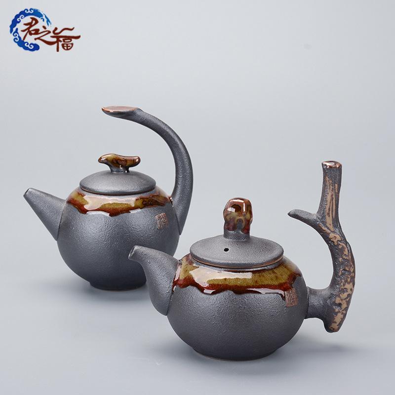 君之福陶瓷手工茶壶 铁陶釉功夫茶具侧把 仿古急须壶礼品定制批发