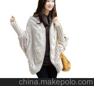秋冬季新款韩国中长款麻花蝙蝠袖贝壳状毛衣洋气款开衫薄行羊毛衫