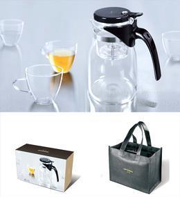 正品尚明G-17玻璃茶具套装 过滤飘逸杯 冲茶壶 礼盒装900ml配4杯1