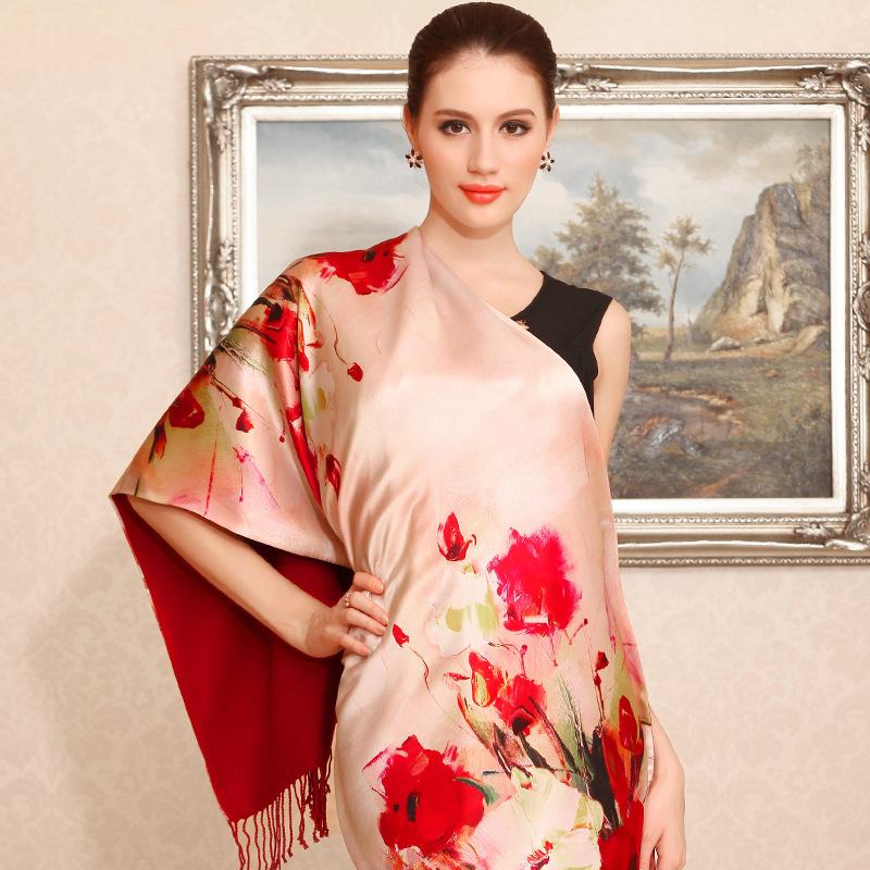 品牌厂家直销 真丝数码喷绘印花真丝围巾桑蚕丝丝巾定制