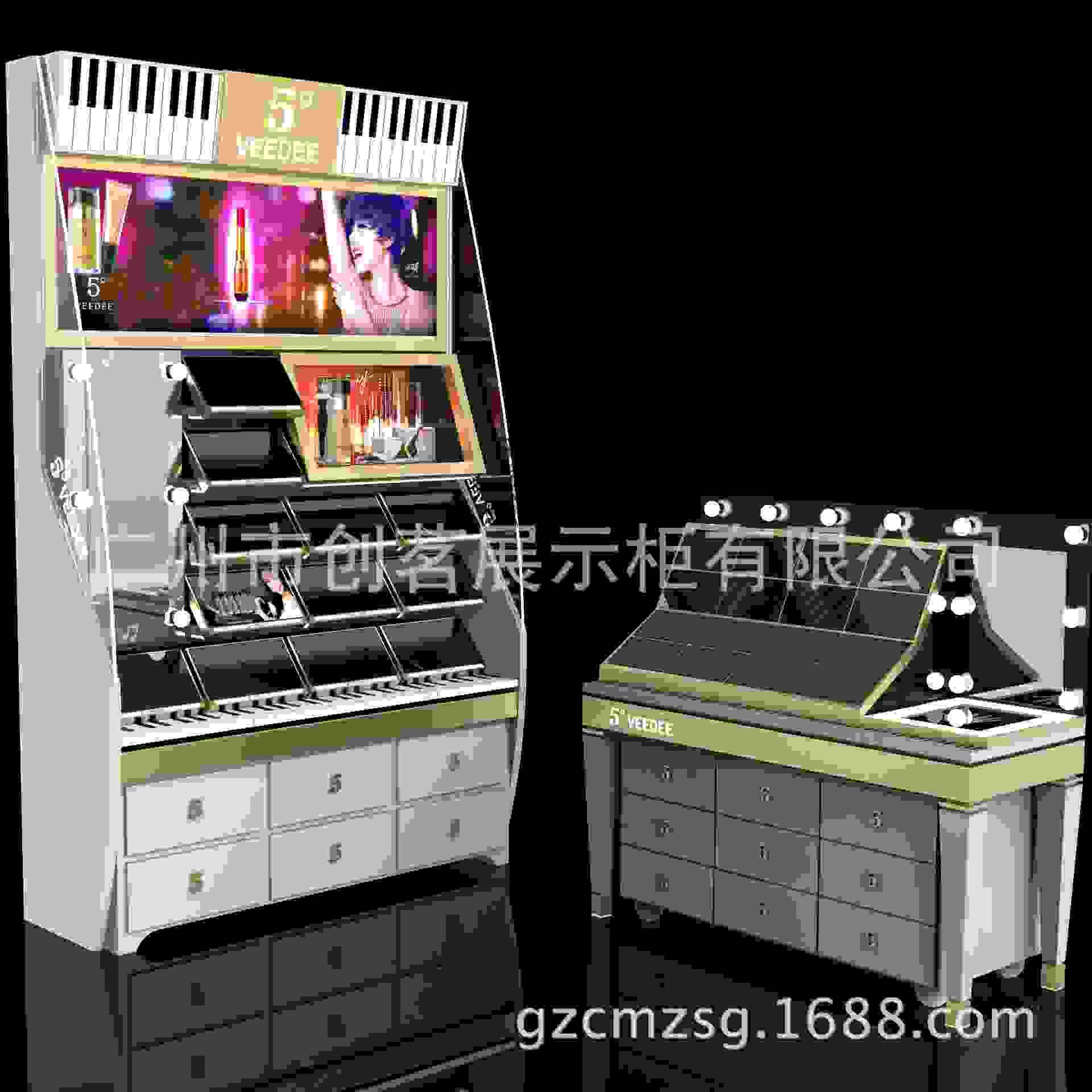 韩束化妆品展示柜精沏水柜台商场岛柜设计定做木质烤漆背柜