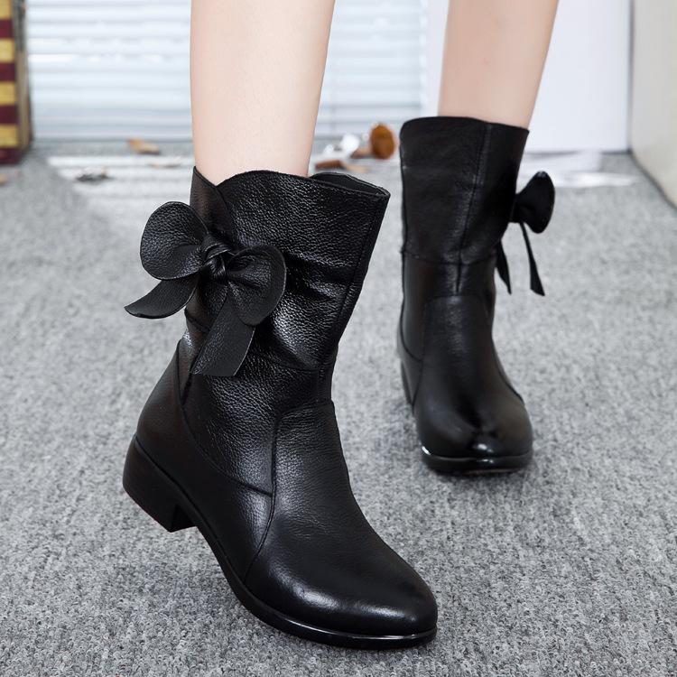 2015秋冬新款女鞋欧美女靴粗跟蝴蝶结纯色中筒加绒保暖真皮马丁靴