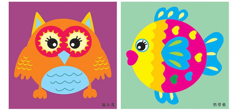 芙蓉天使 儿童手工制作纸盘贴纸画幼儿园玩具创意diy粘贴材料包图片