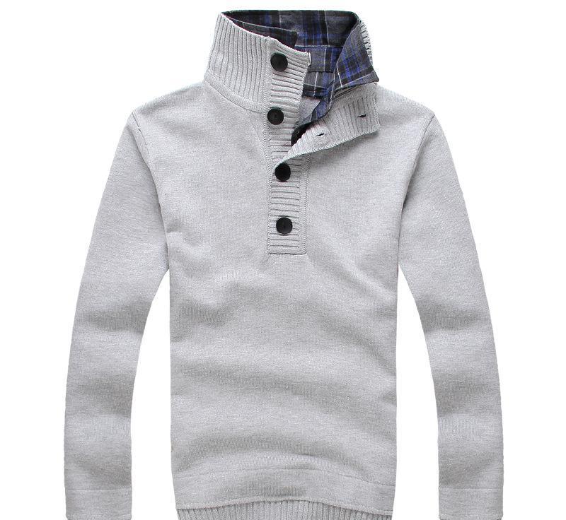 2014春秋新款韩版立领针织衫男假两件线衣男毛衣精品休闲绅