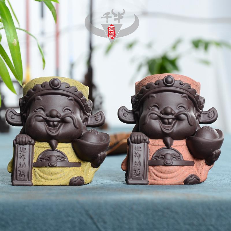 厂家直销宜兴精品彩砂陶五路财神茶宠创意家居装饰品礼品摆件