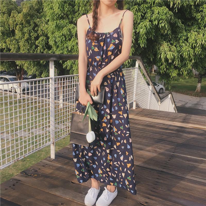 2017夏季新款小清新碎花韩国气质显瘦韩版中长裙雪纺连衣裙吊带裙