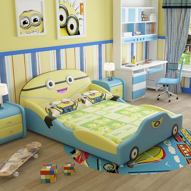 定制儿童床男孩女孩真皮床卧室儿童可爱创意实木松木卡通床王子床