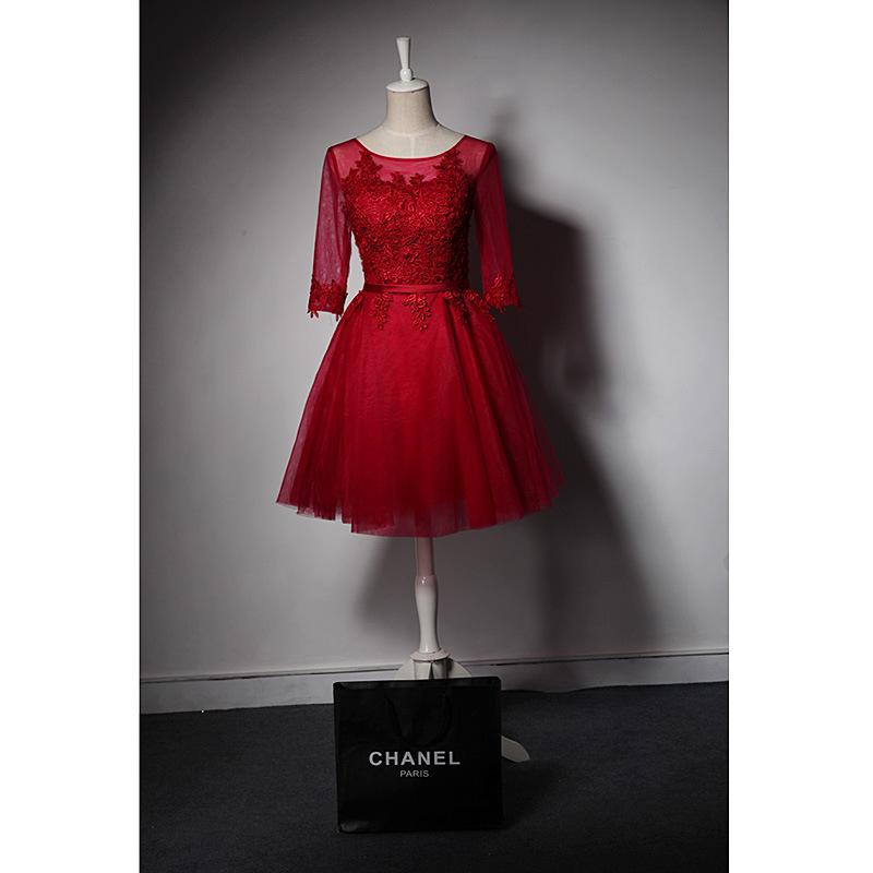 酒红色短款中袖结婚新娘敬酒服伴娘服蓬蓬裙年会影楼小礼服