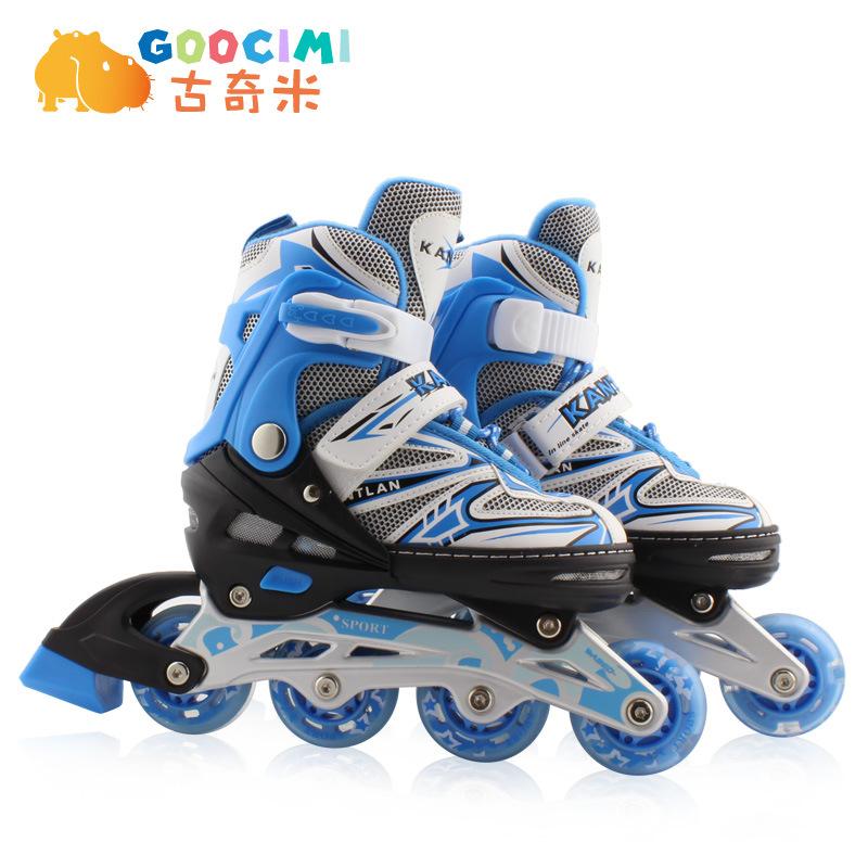 古奇米轮滑鞋可调闪光旱冰鞋假日溜冰鞋儿童全套装直排轮滑冰鞋