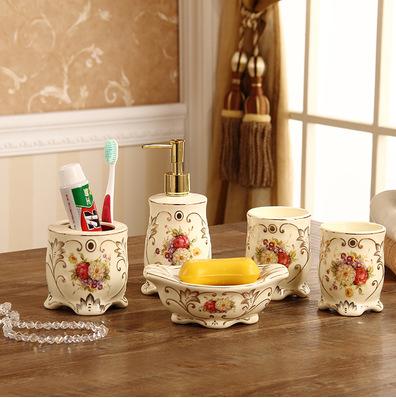 欧式卫浴五件套陶瓷浴室用品洗漱套装牙刷漱口杯套件高档新婚礼品
