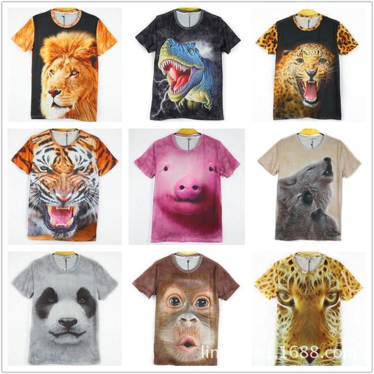 原宿风TEE 数码印花 3D动物 Tiger 老虎 荧光豹短袖潮创意t恤