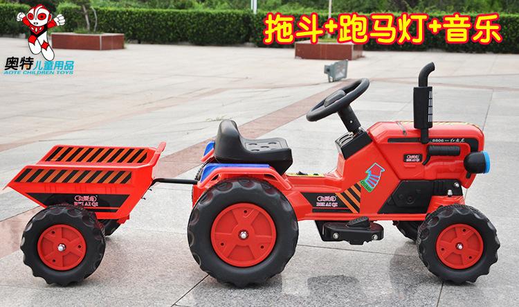 新款儿童电动车汽车带跑马灯东方红带斗拖拉机电瓶车