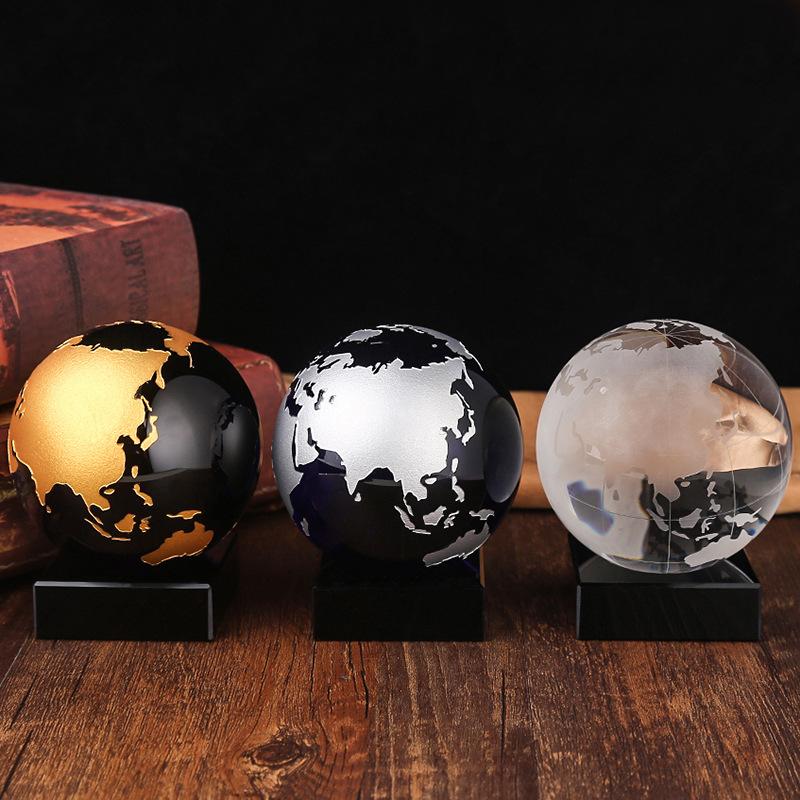 水晶地球仪 玻璃球批发办公家居摆件 创意礼品 世界喷砂地图批发