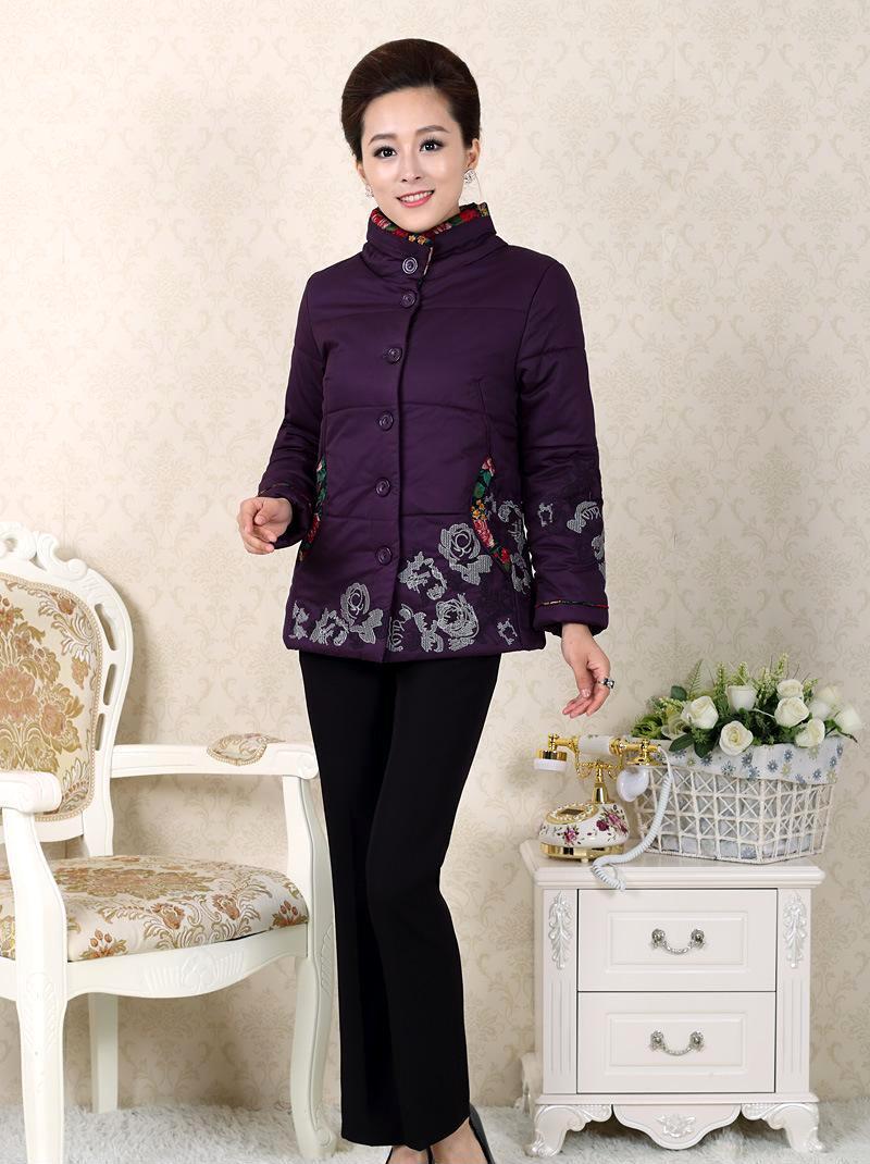 中年服装_2013最新中老年女装冬装修身立领外套加厚棉衣妈妈装中年服装