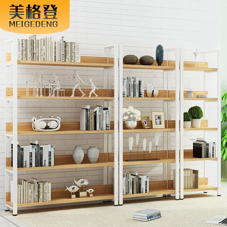简约铁艺置物架 钢木隔板收纳整理架组合 简易层板实木书架