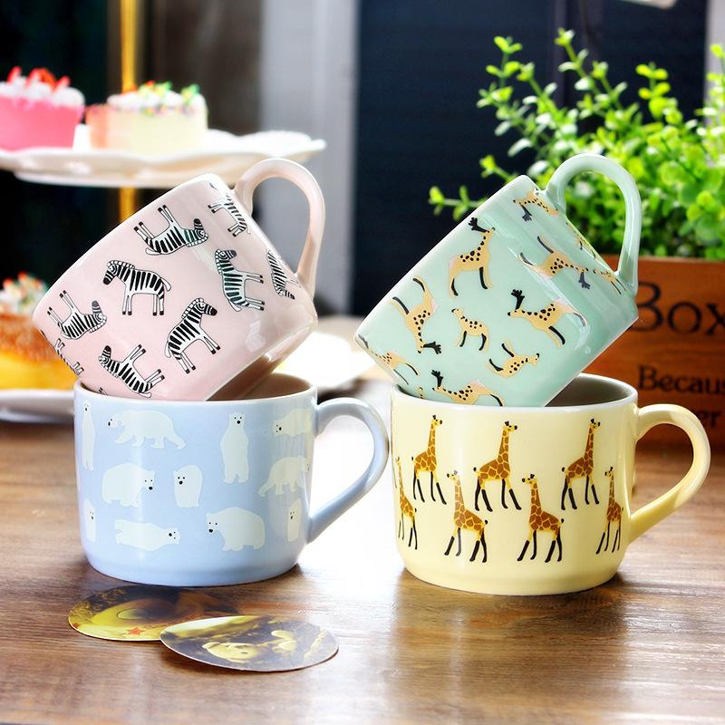 可爱动物咖啡杯长颈鹿斑马羊动物创意陶瓷杯带把时尚马克杯批发图片