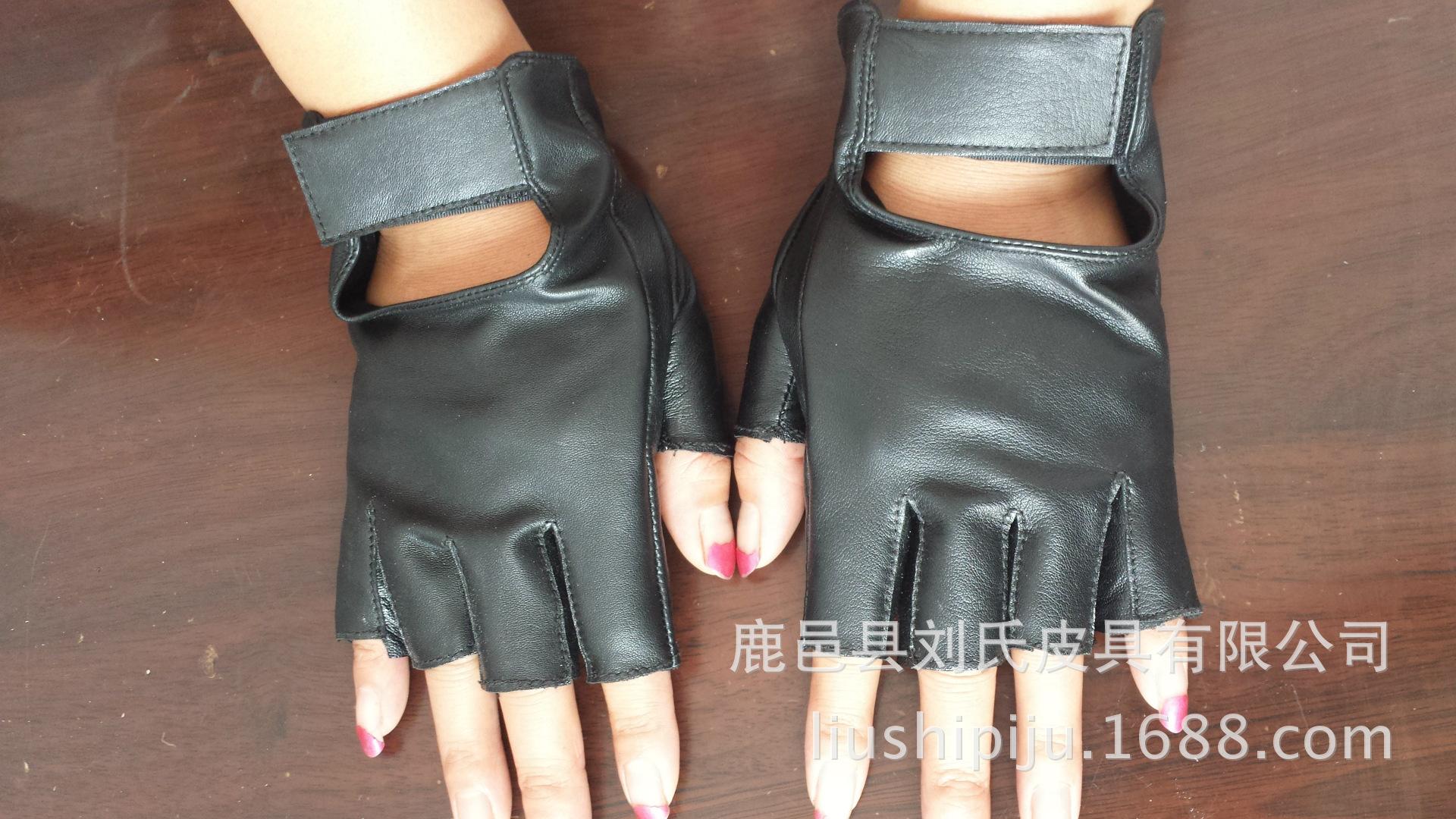 厂家直销新款女式羊皮半指手套真皮休闲驾驶手套骑行手套外贸手套