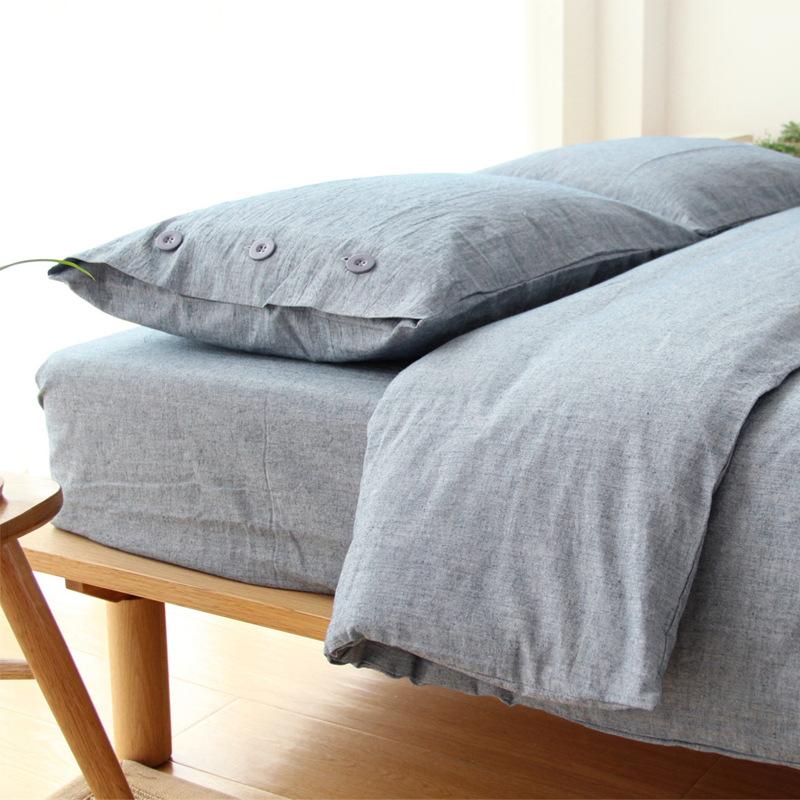 日式无印水洗棉麻纯色纽扣四件套被套床笠1.5 1.8米双人床品套件