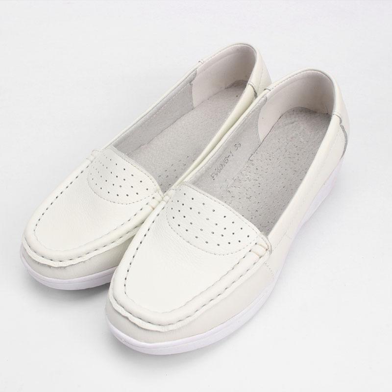 品尚 护士鞋秋季白色真皮坡跟休闲妈妈鞋防滑小白鞋单鞋女工作鞋
