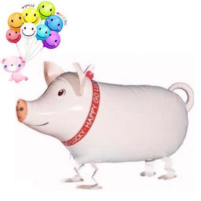 2016 新款走路猪气球 动物气球 猪走路气球 散步走路气球图片