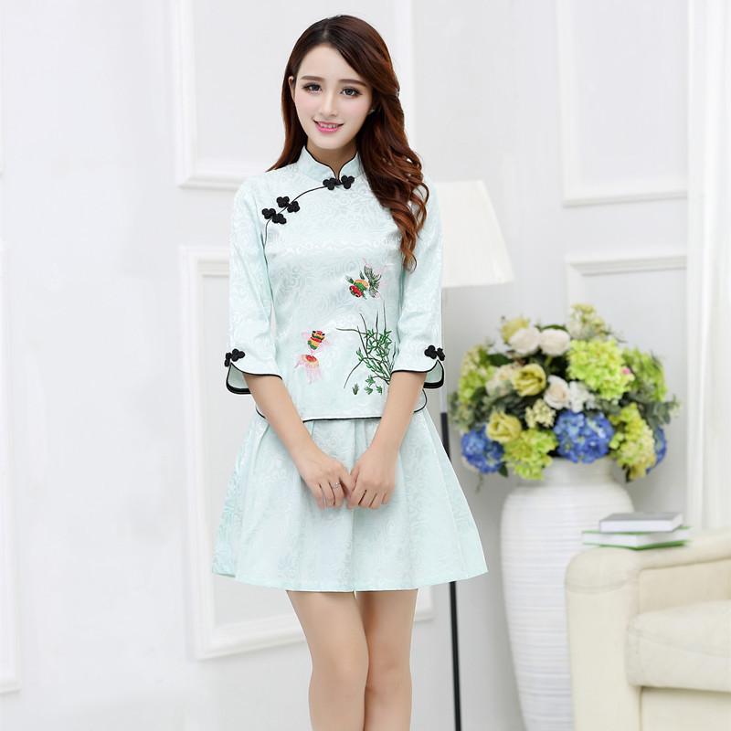 夏装新款女改良时尚修身显瘦民国复古唐装旗袍两件套装图片