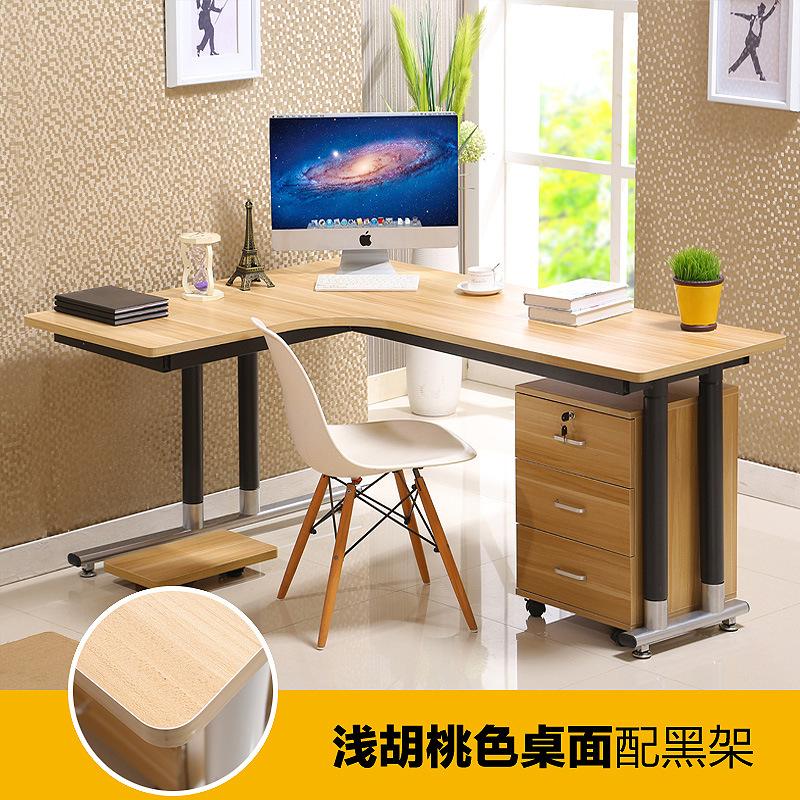 钢木转角桌墙角拐角办公桌l型书桌子台式家用简易家具电脑桌批发图片