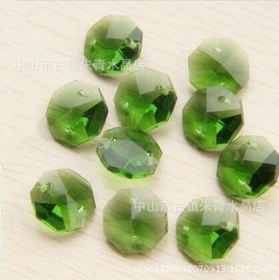 绿色14mm水晶八角珠 DIY水晶珠帘门帘配件 散珠水晶批发饰品