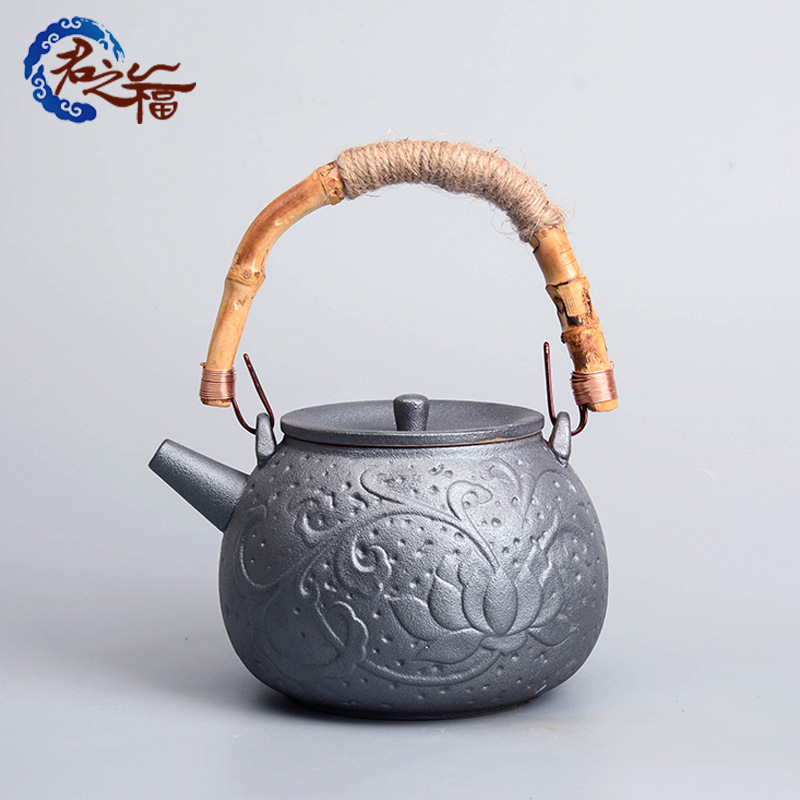 君之福陶瓷茶壶 铁陶釉大号功夫茶具煮茶仿古泡茶 电陶壶礼品定制