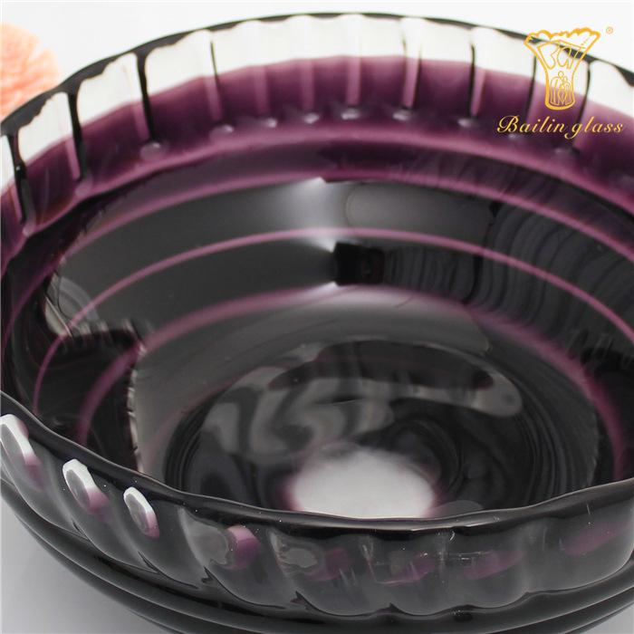 白林高档出口手工紫罗兰玻璃果盘