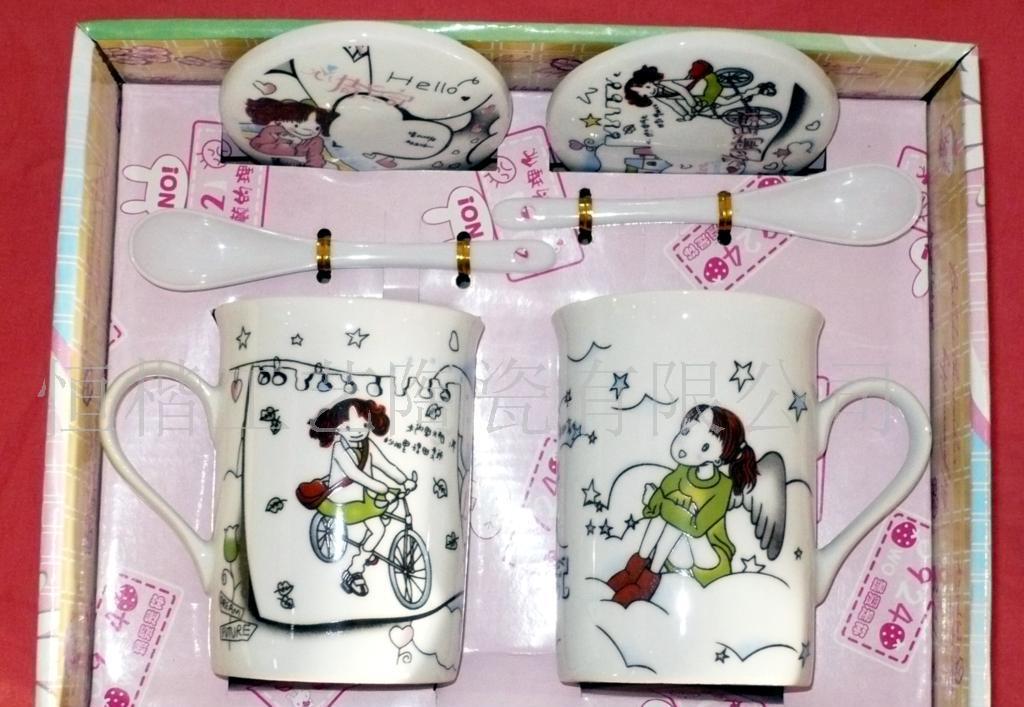 陶瓷礼品,日记礼品,有盖勺子,日记陶瓷礼品,厂家生产厂家对杯心情1