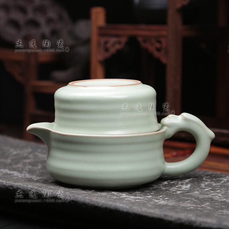 批发精品创意汝窑茶具开片快客杯一壶一二杯多款还原汝瓷陶瓷功夫