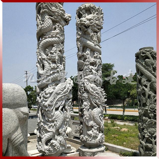 九龙星花岗岩石雕龙柱寺庙石雕双龙柱 厂家直销