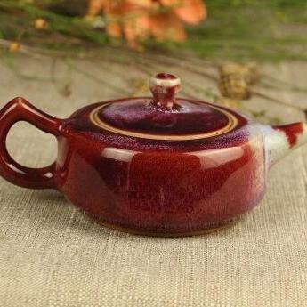 钧瓷茶壶禹州神垕钧瓷茶具单壶钧窑礼品收藏煤窑釉钧瓷茶壶