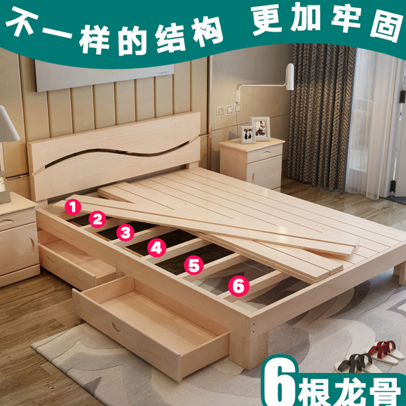 简易实木床1.5榻榻米床1米儿童床1.2米成人单人床1.8米双人松木床