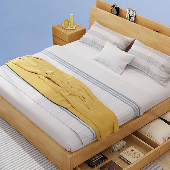 日式实木床1.8米双人床主卧1.5m北欧实木床现代简约储物床