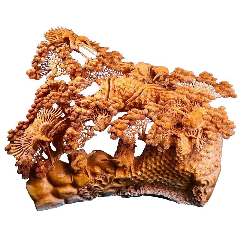 南溪之珠工艺品红木工艺品超大型镂空松鹤延年全品无拼无接