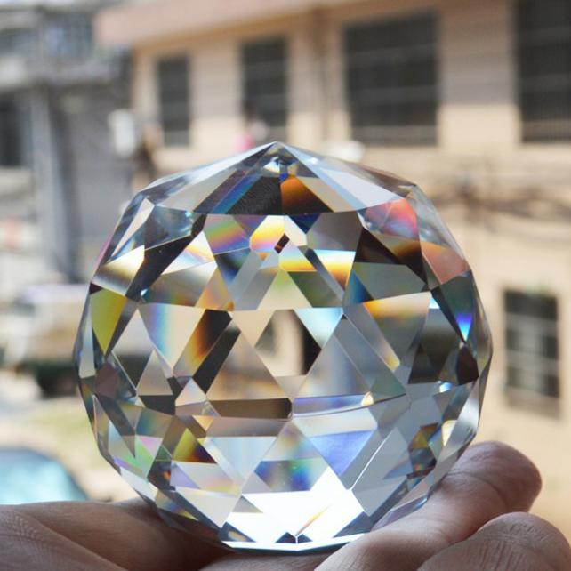 供应 水晶灯饰球 透明水晶实心刻面球 水晶气泡球 灯饰挂件