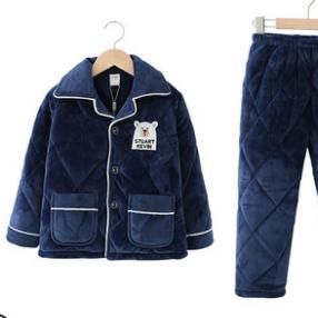 男童冬季法兰绒睡衣三层加厚夹棉保暖家居服中大童珊瑚绒睡袄套装