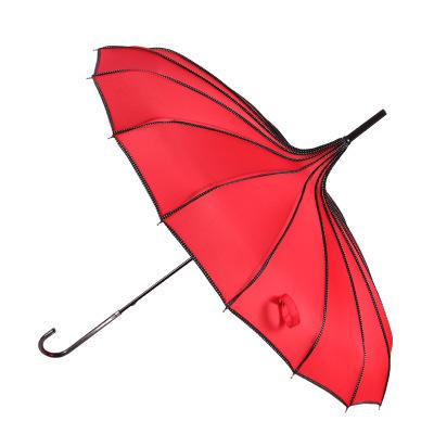 宝塔伞包边直杆单点点包边长柄公主 遮阳清新创意摄影复古晴雨伞