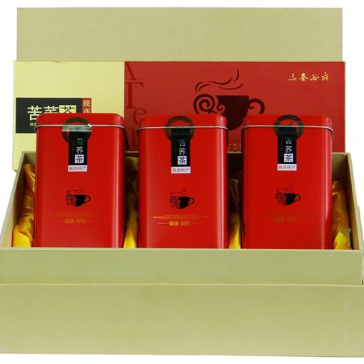 三秦谷府黑苦荞茶红礼盒装420克全胚芽苦荞茶荞麦陕西陕北特产 包邮(除偏远地区)