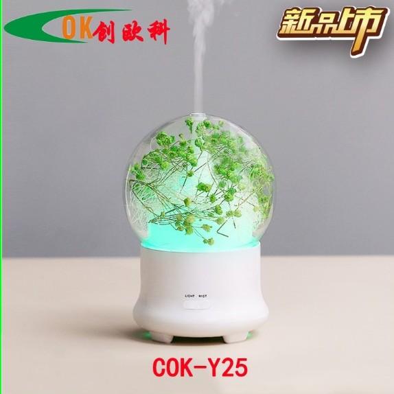 创意七彩永生花加湿器 精油满天星香薰机 迷你超声波空气补水加湿器