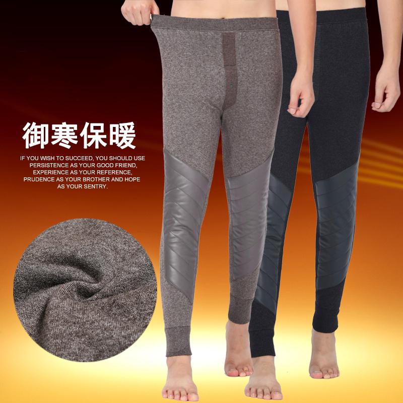 榆林三愛服飾產冬季男士加絨加厚款羊絨褲雙層護膝蓋男裝羊毛保暖褲