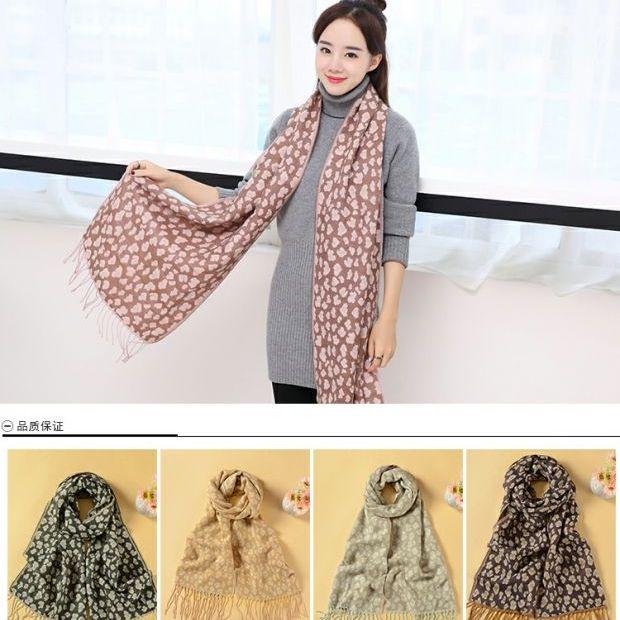 美丽啪秋冬斑点豹纹女士围巾免费试用